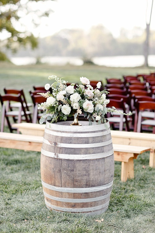 Classic winery wedding at Upper Shirley Vineyards with specialty and vintage rentals by Paisley and Jade