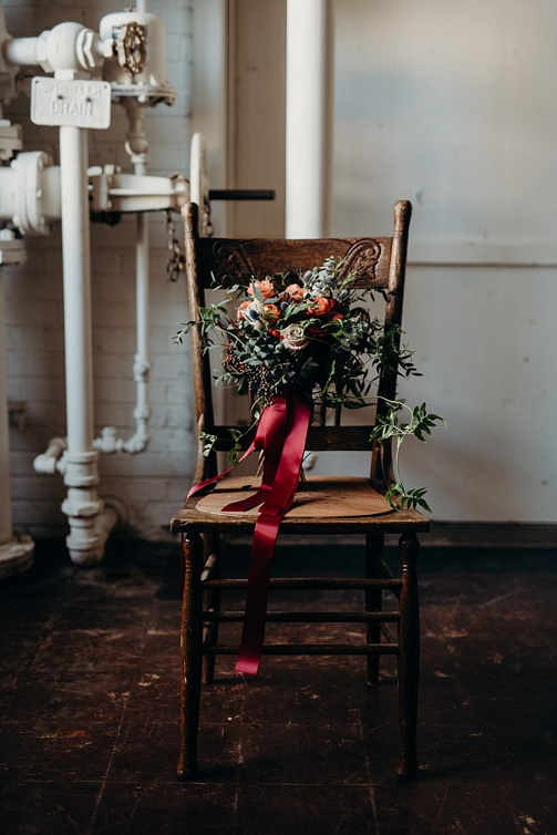 Moody and modern wedding inspiration styled shoot at Highpoint & Moore with space and specialty rentals by Paisley & Jade