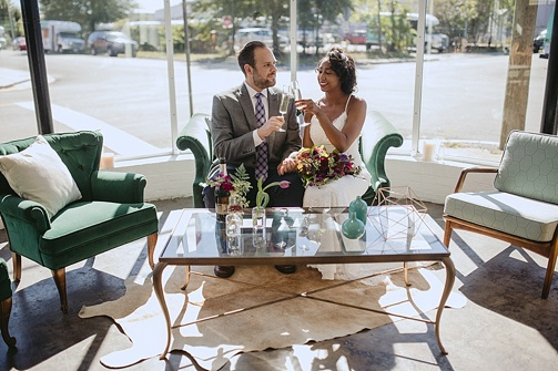 Modern and minimal wedding inspiration styled shoot at Studio 23 in Richmond with specialty and vintage rentals by Paisley & Jade