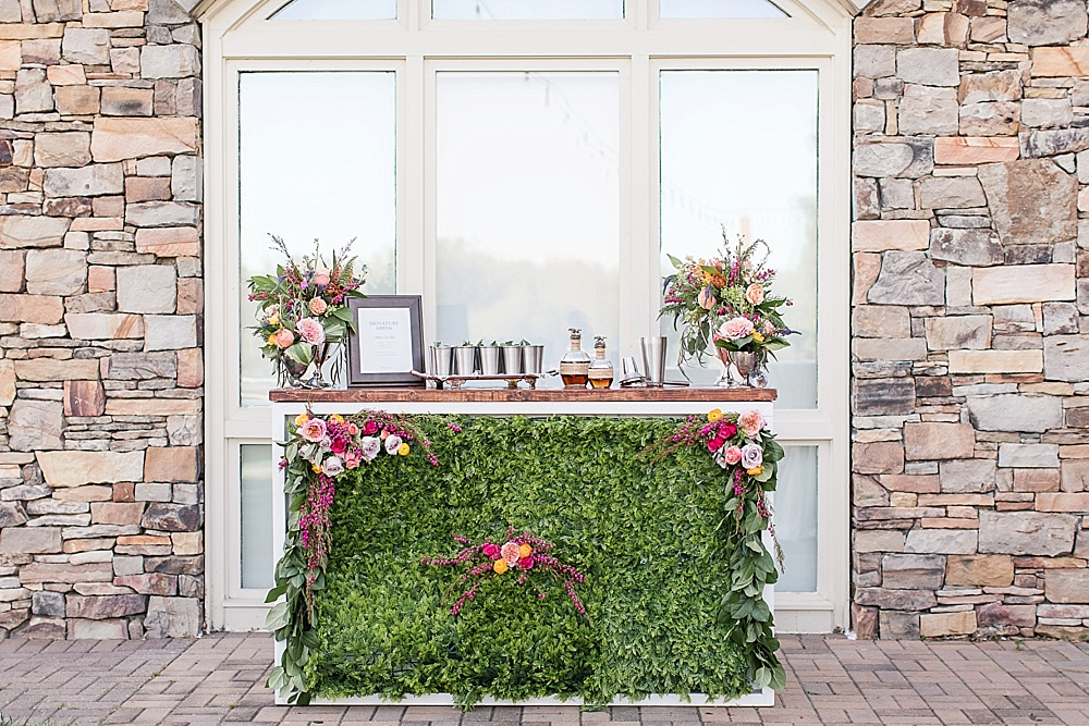 Colorful and garden inspired styled shoot with a specialty bar by Paisley and Jade