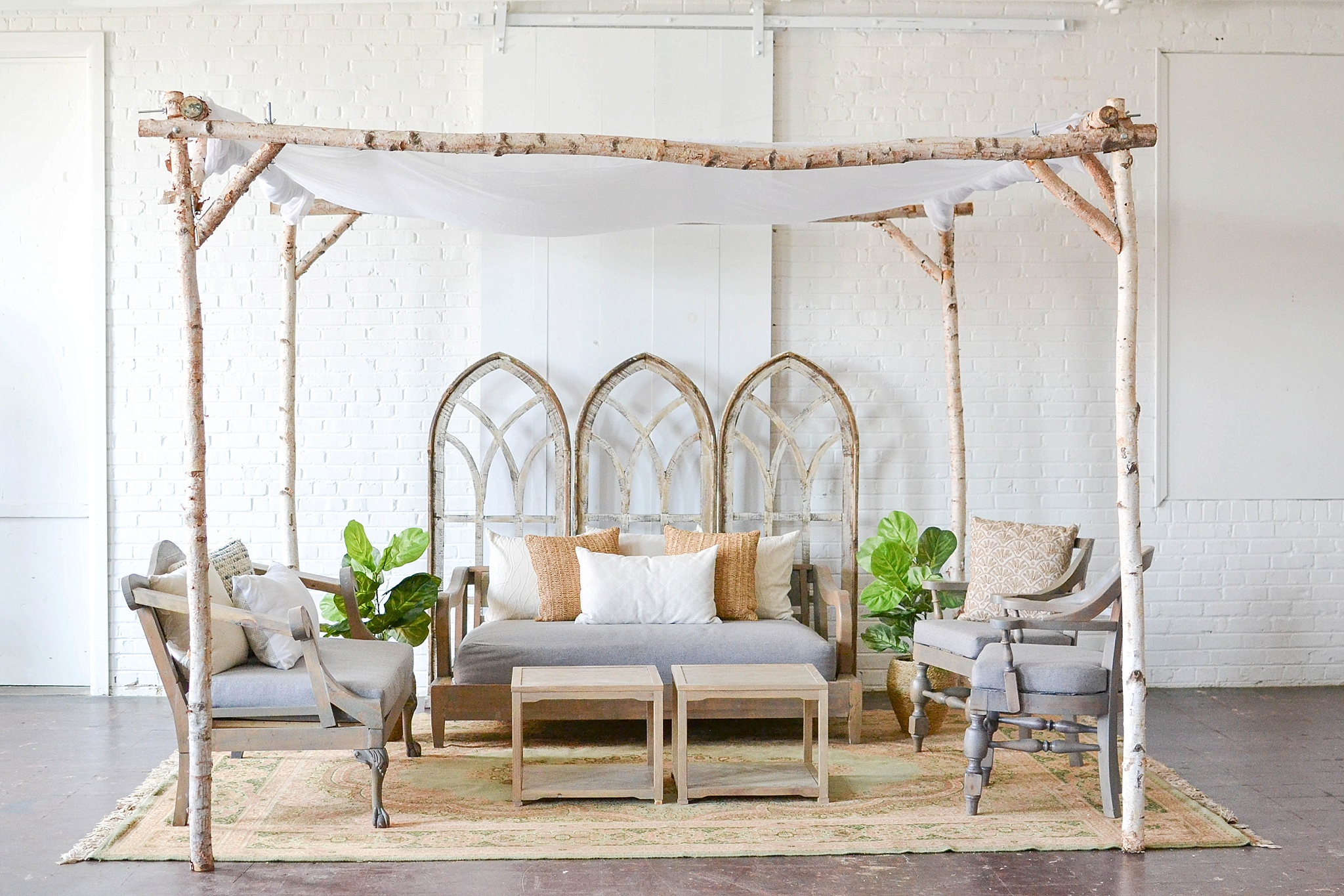 Inspiration station design for a ceremony set-up and a cool cabana with space and inventory provided by Paisley & Jade