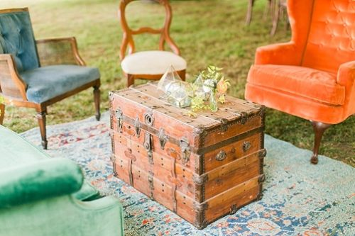 Charming and colorful wedding at Tuckahoe Plantation with specialty and vintage rentals by Paisley and Jade