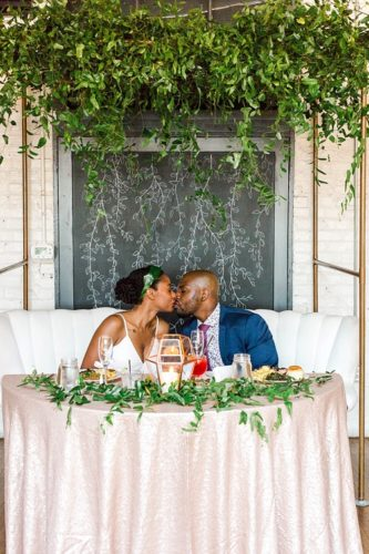 Chic and modern city wedding in RVA with specialty and vintage rentals by Paisley and Jade