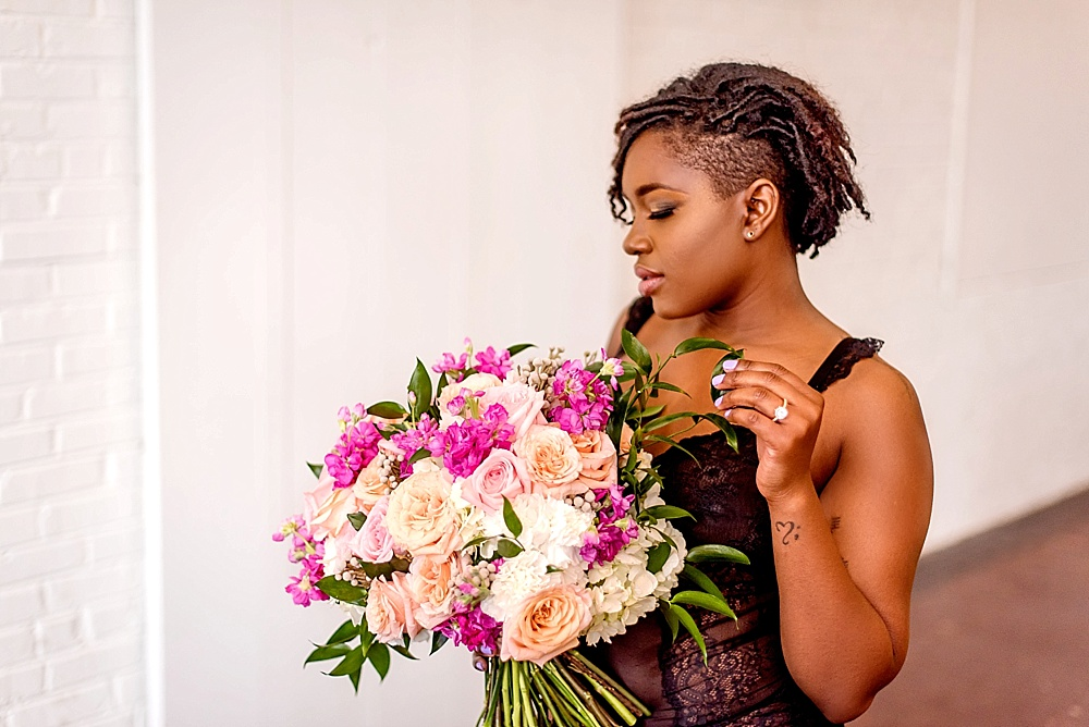 Beautiful bridal boudoir photo shoot at Highpoint and Moore with space and prop rentals by Paisley and Jade