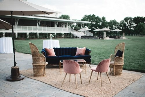 Mid-Century Modern inspired winery wedding reception at Upper Shirley Vineyards with vintage and specialty pieces by Paisley and Jade