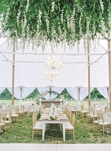 Upper Shirley Vineyards Wedding featuring a Floral-Filled Arbor, Acrylics, and More!