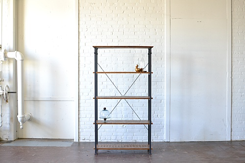 wooden and metal industrial shelving