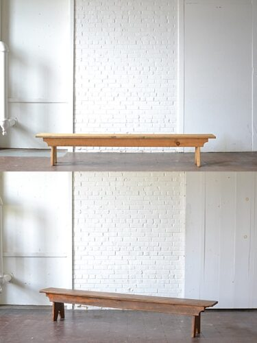 stained wooden bench