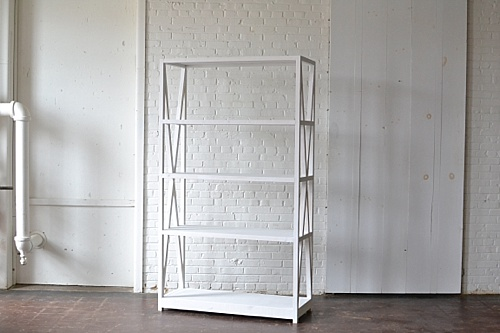 modern white wooden shelving