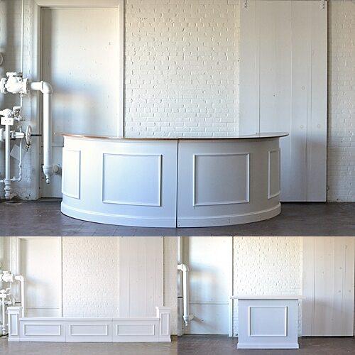 Estate Bar: White stage facades, estate cocktail table