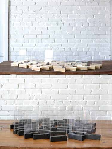 gold tabletop acrylics, black tabletop acrylics